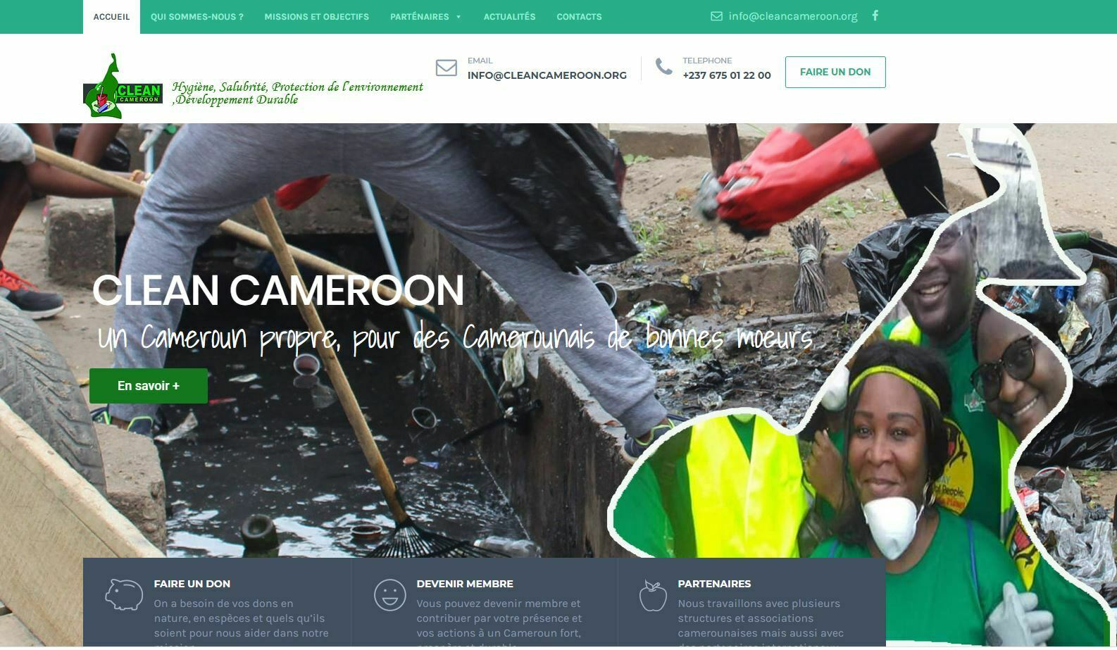 Creation de site internet association clean cameroun effectué par Didacweb