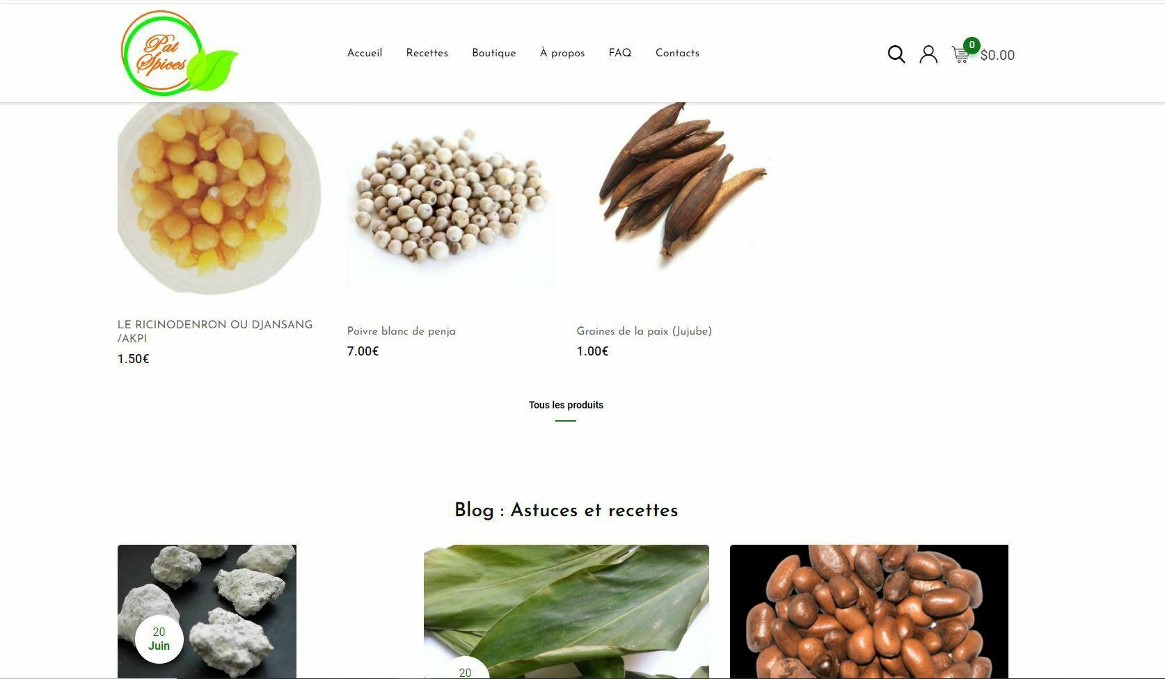 Creation de site internet association patspices effectué par Didacweb
