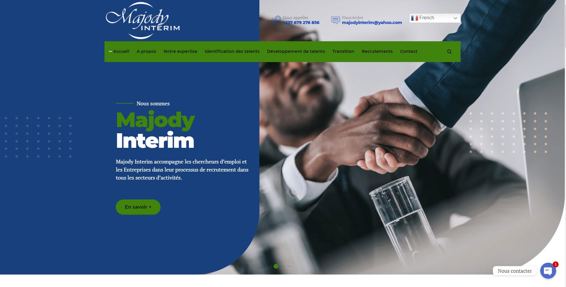 Conception et réalisation du site web à Douala de Majody Interim