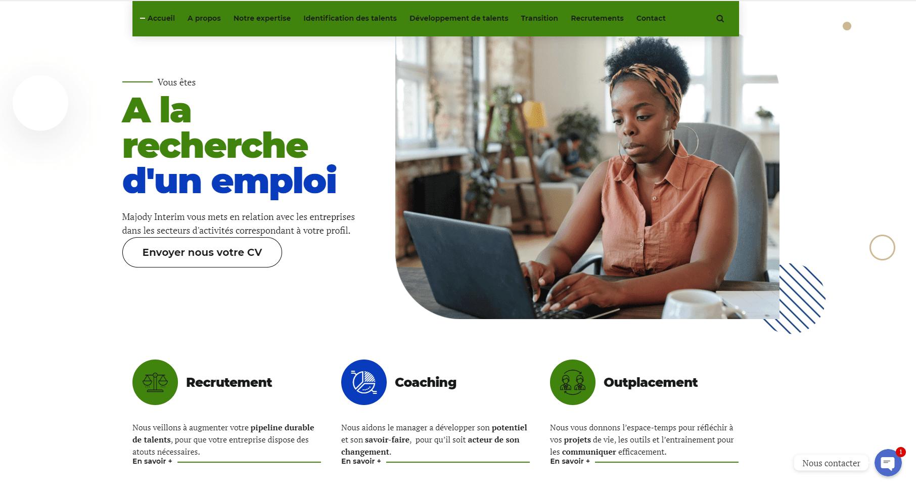 Conception et réalisation du site web à Douala de Majody Interim 02
